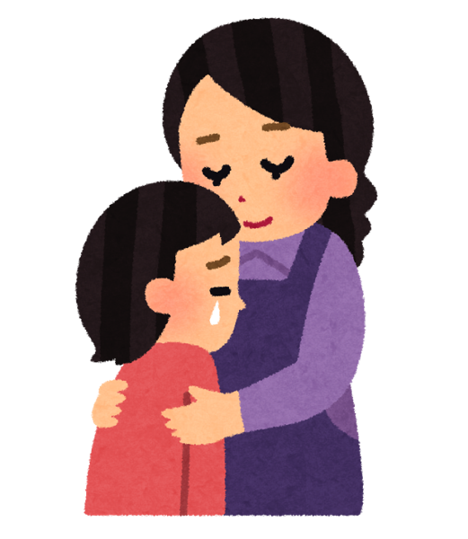 悲しむ子供を慰める母親