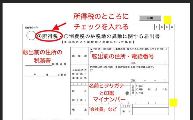 所得税の納税地の異動に関する届出書・氏名・住所欄の書き方
